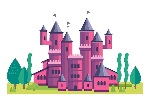Ilustração de um lindo castelo rosa. ilustração de fada