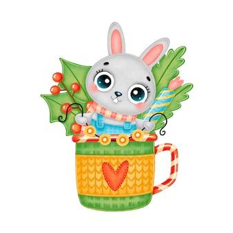 Ilustração de um lindo desenho animado de coelhinho de natal usando um lenço com luzes de guirlanda em uma caneca de chá