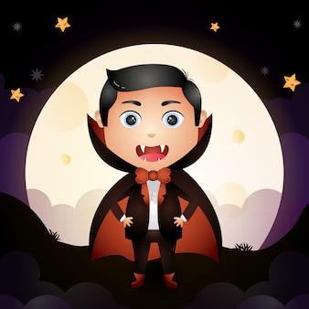 Ilustração de um lindo desenho animado do jovem drácula de halloween em pé em frente à lua