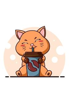 Ilustração de um lindo gato laranja sentado bebendo uma garrafa