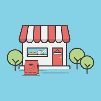 Ilustração, de, um, loja padaria