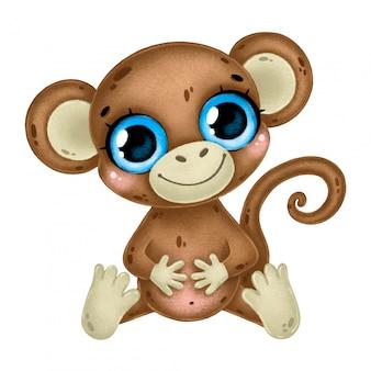 Ilustração de um macaco bonito dos desenhos animados com olhos grandes, sentado isolado