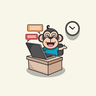 Ilustração de um macaco fofo trabalhando em casa
