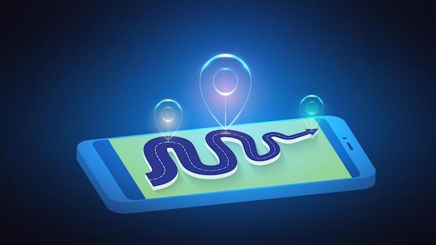 Ilustração de um marcador luminoso abstrato em uma rota rodoviária em um telefone celular.