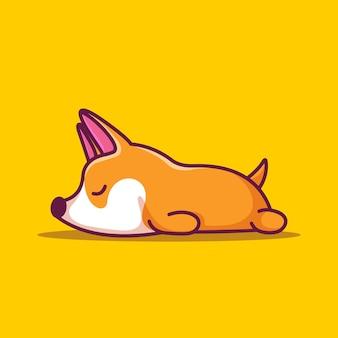 Ilustração de um mascote shiba inu adormecido com ícones bonitos de desenhos animados