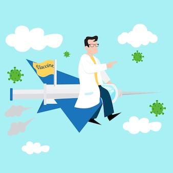 Ilustração de um médico embarcando em um avião com a vacina covid19