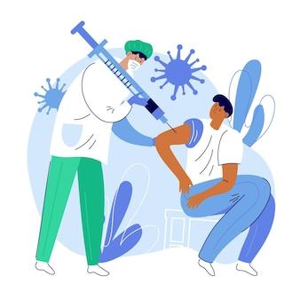 Ilustração de um médico injetando vacina em um paciente na clínica