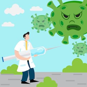 Ilustração de um médico segurando uma vacina contra o coronavírus