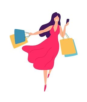 Ilustração, de, um, menina, com, shopping