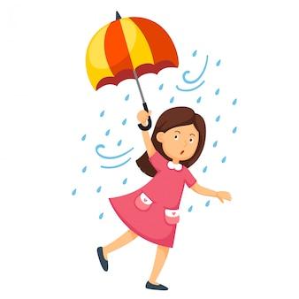 Ilustração, de, um, menina, segurando, um, guarda-chuva
