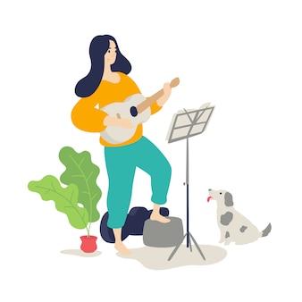 Ilustração, de, um, menina, tocando, um, violão acústico