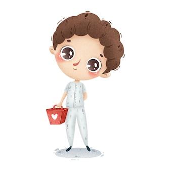Ilustração de um menino bonito da enfermeira dos desenhos animados no uniforme branco com uma mala médica. trabalhador de ambulância.