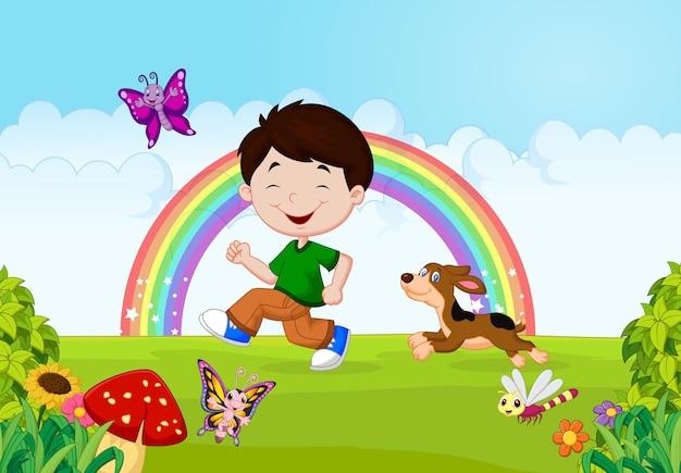 Ilustração de um menino correndo com seu animal de estimação