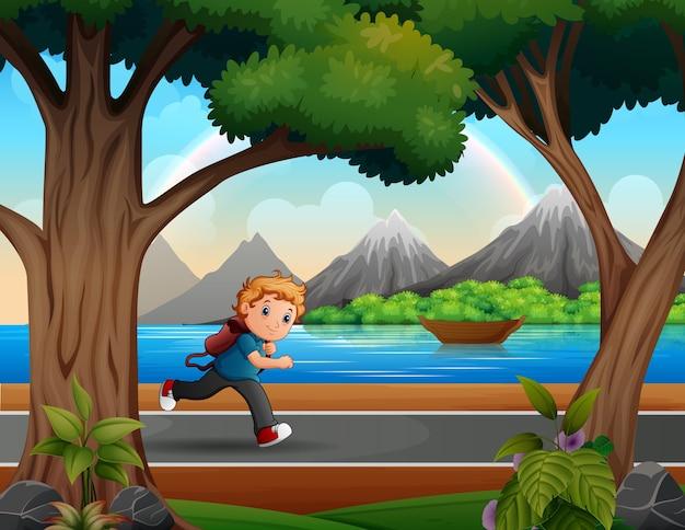Ilustração de um menino correndo na estrada