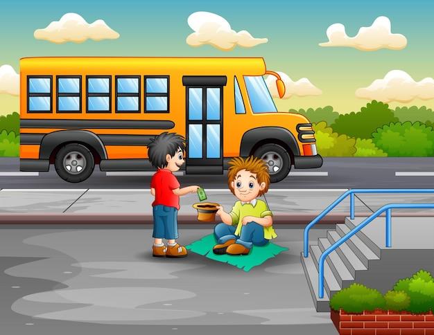 Ilustração de um menino dando dinheiro a um mendigo