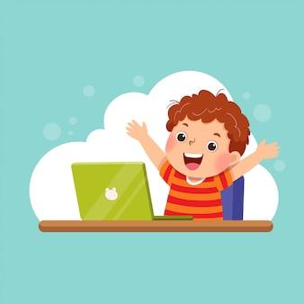 Ilustração de um menino de desenho animado com seu laptop expressando seu sucesso. conceito de educação.