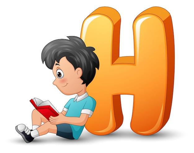 Ilustração de um menino de escola encostado em uma letra h