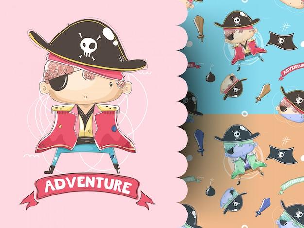 Ilustração de um menino pirata com padrão