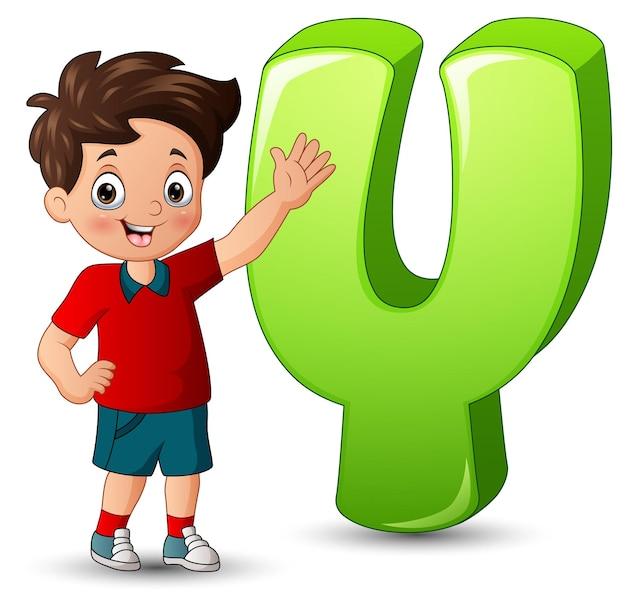 Ilustração de um menino posando ao lado de uma letra y