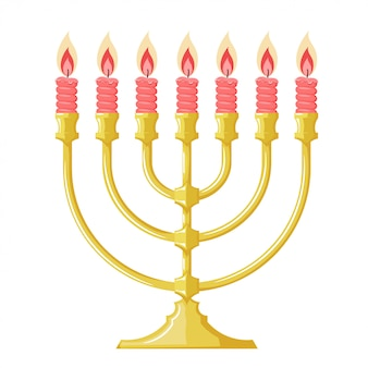 Ilustração de um menorah com velas vermelhas. imagem dos desenhos animados da menorá judaica. estilo dos desenhos animados. sujeito da religião judaica
