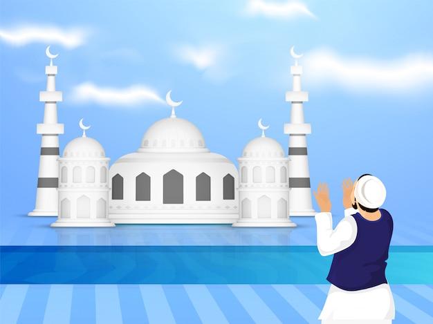 Ilustração, de, um, mesquita, com, muçulmano, homem rezando, (offering, namaz), azul, nublado, fundo