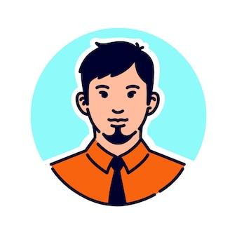 Ilustração de um moderno elegante. avatar de um homem de gravata e com uma barba estilosa.