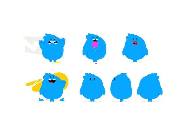Ilustração de um monstro kawaii azul