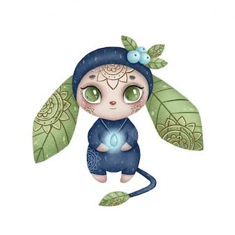 Ilustração de um monstro mágico da floresta dos desenhos animados bonitos. monstro fantástico azul com orelhas de folhas e ornamento folclórico em um fundo branco