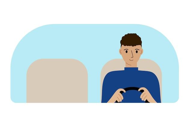 Ilustração de um motorista de homem dirigindo. olha pelo para-brisa