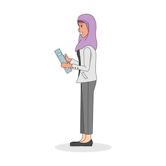 Ilustração, de, um, mulher, desgastar, um, hijab