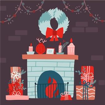 Ilustração de um natal, sala decorada com parede de tijolos, lareira, guirlanda floral, caixas de presente. interior festivo de natal. ilustração plana.