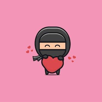 Ilustração de um ninja preto fofo segurando um coração