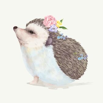 Ilustração, de, um, ouriço bebê
