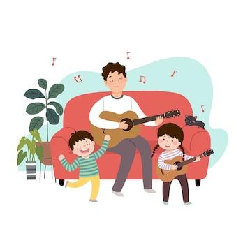 Ilustração de um pai de desenho animado tocando violão e cantando com seus filhos em casa. família aproveitando o tempo no conceito de casa.