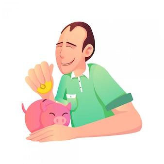 Ilustração de um pai economizando dinheiro para o futuro e um cofrinho