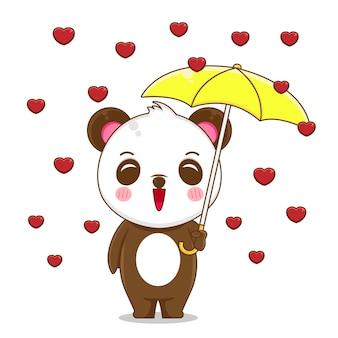 Ilustração de um panda fofo segurando guarda-chuva com chuva de amor