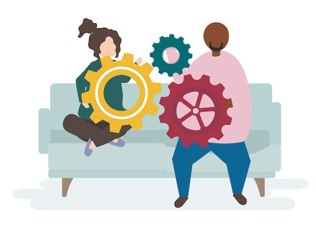 Ilustração, de, um, par, caráteres, com, cogwheels