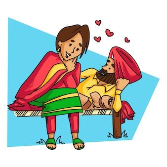Ilustração de um par do sardar do punjabi.