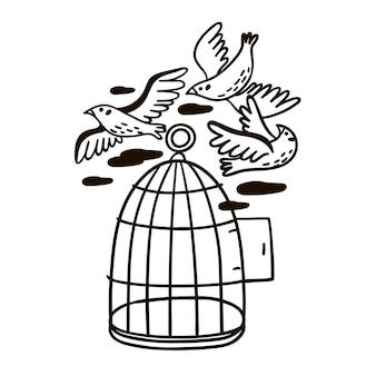 Ilustração de um pássaro voando para fora da gaiola. preto e branco