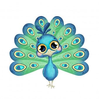 Ilustração de um pavão bonito dos desenhos animados com olhos grandes isolado