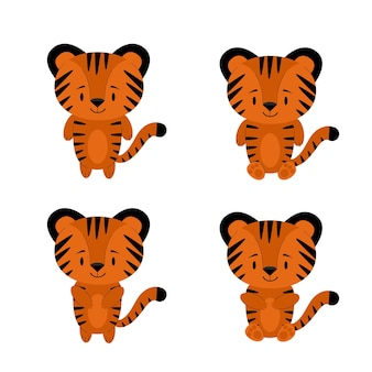 Ilustração de um pequeno filhote de tigre listrado bonito. conjunto de adesivos