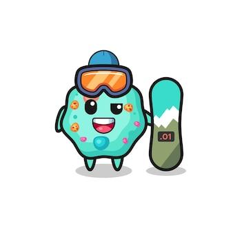 Ilustração de um personagem de ameba com estilo de snowboard, design de estilo fofo para camiseta, adesivo, elemento de logotipo
