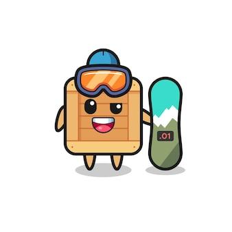 Ilustração de um personagem de caixa de madeira com estilo de snowboard, design de estilo fofo para camiseta, adesivo, elemento de logotipo