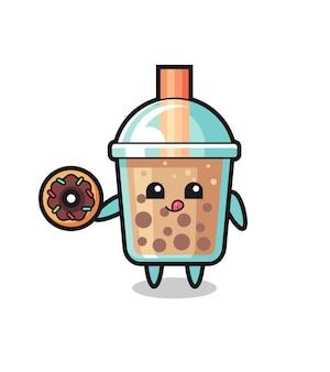 Ilustração de um personagem de chá de bolha comendo um donut, design de estilo fofo para camiseta, adesivo, elemento de logotipo