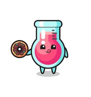 Ilustração de um personagem de copo de laboratório comendo uma rosquinha, design de estilo fofo para camiseta, adesivo, elemento de logotipo