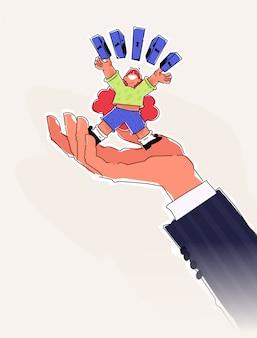 Ilustração de um personagem de desenho animado fofinho com cofres