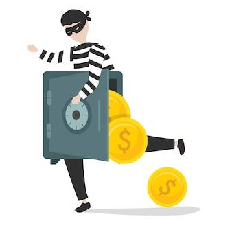 Ilustração de um personagem de ladrão