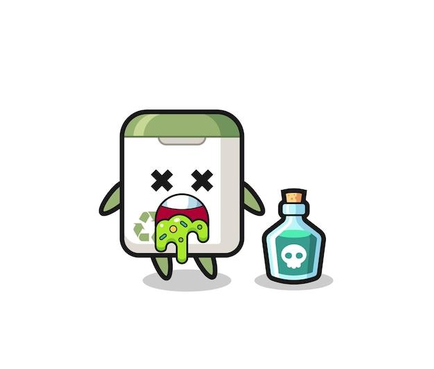 Ilustração de um personagem de lata de lixo vomitando devido a envenenamento, design de estilo fofo para camiseta, adesivo, elemento de logotipo