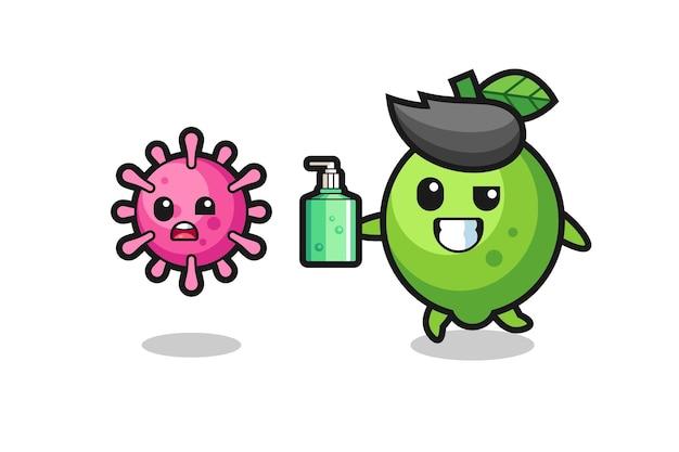 Ilustração de um personagem de limão perseguindo o vírus do mal com desinfetante para as mãos, design de estilo fofo para camiseta, adesivo, elemento de logotipo