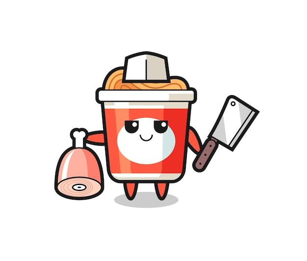 Ilustração de um personagem de macarrão instantâneo como um açougueiro, design de estilo fofo para camiseta, adesivo, elemento de logotipo